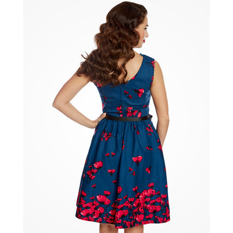 Lindy Bop Daria Midnight Poppy Swing Dress|Poisonkandyklothing