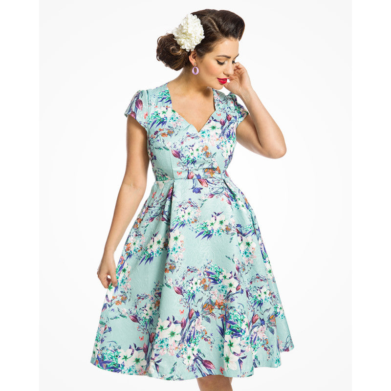 Lindy Bop Celestine Green Flowers Print Swing Dress|Poisonkandyklothing