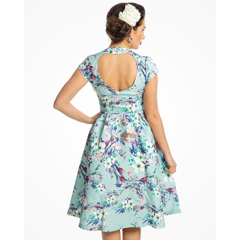 Lindy Bop Celestine Green Flowers Dress Plus Size|Poisonkandyklothing
