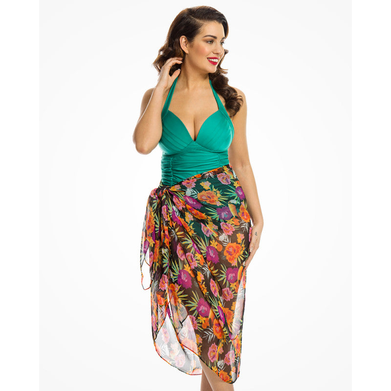 Lindy Bop Black & Tropical Sarongs 2 pack
