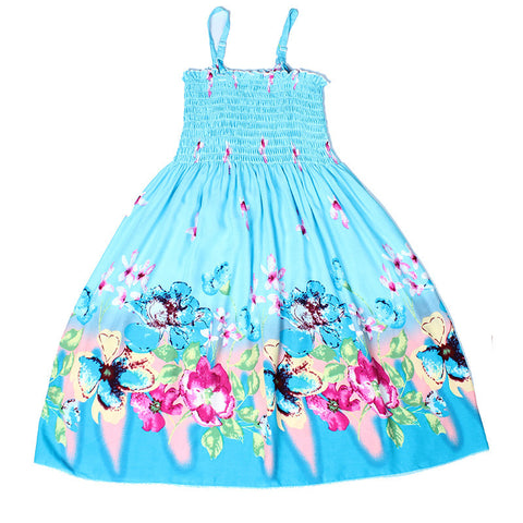 Little Girls Summer Dresses Blue Floral