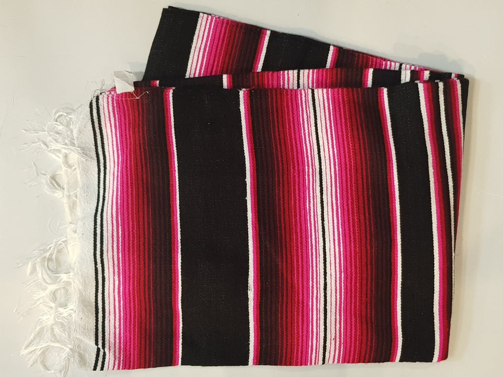 Mexican Blanket Black Red & Pink  Colour