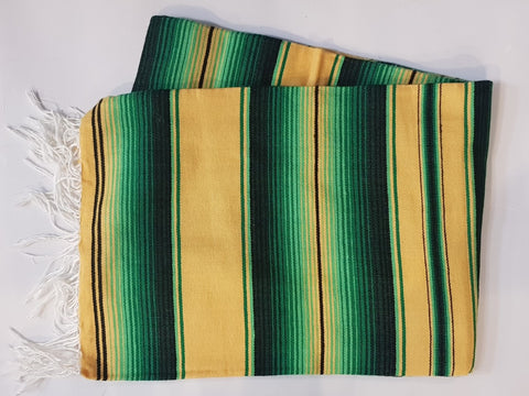 Mexican Blanket Green & Gold  colour