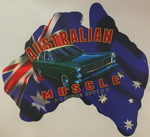 Aussie Map - Austrailian Muscle Since 1971 Classic Fairlane Tin Sign Poison Kandy Klothing