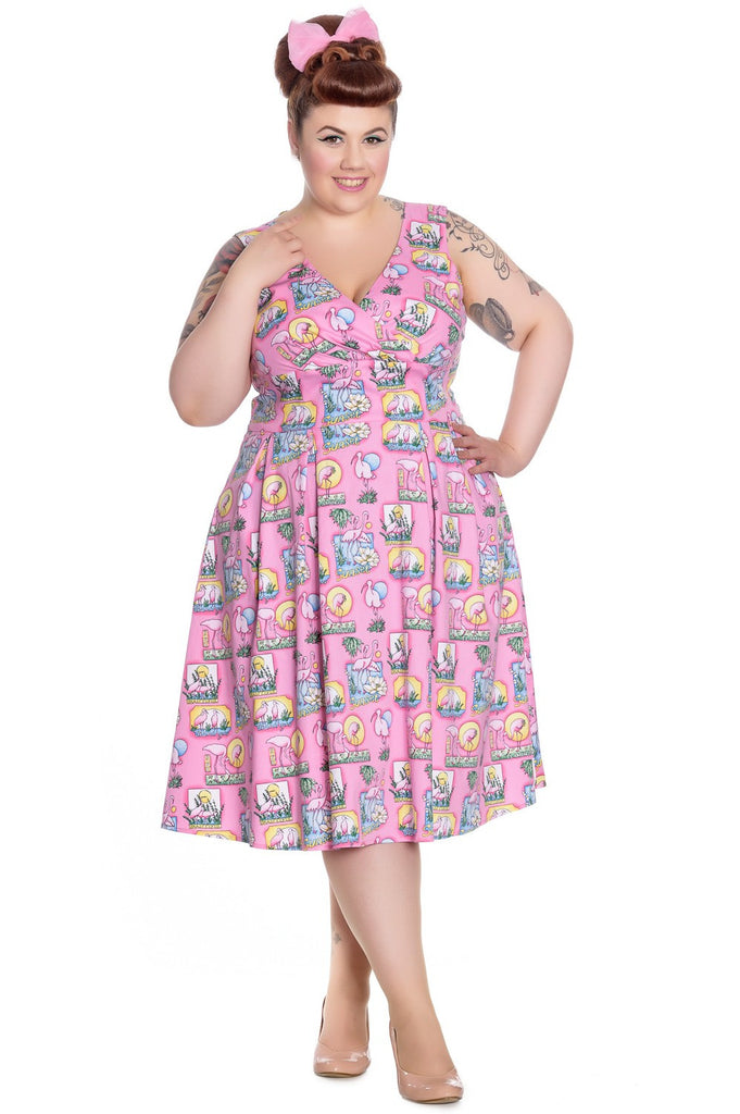 Hell Bunny - Maxine Ladies Dress Pink Plus Size