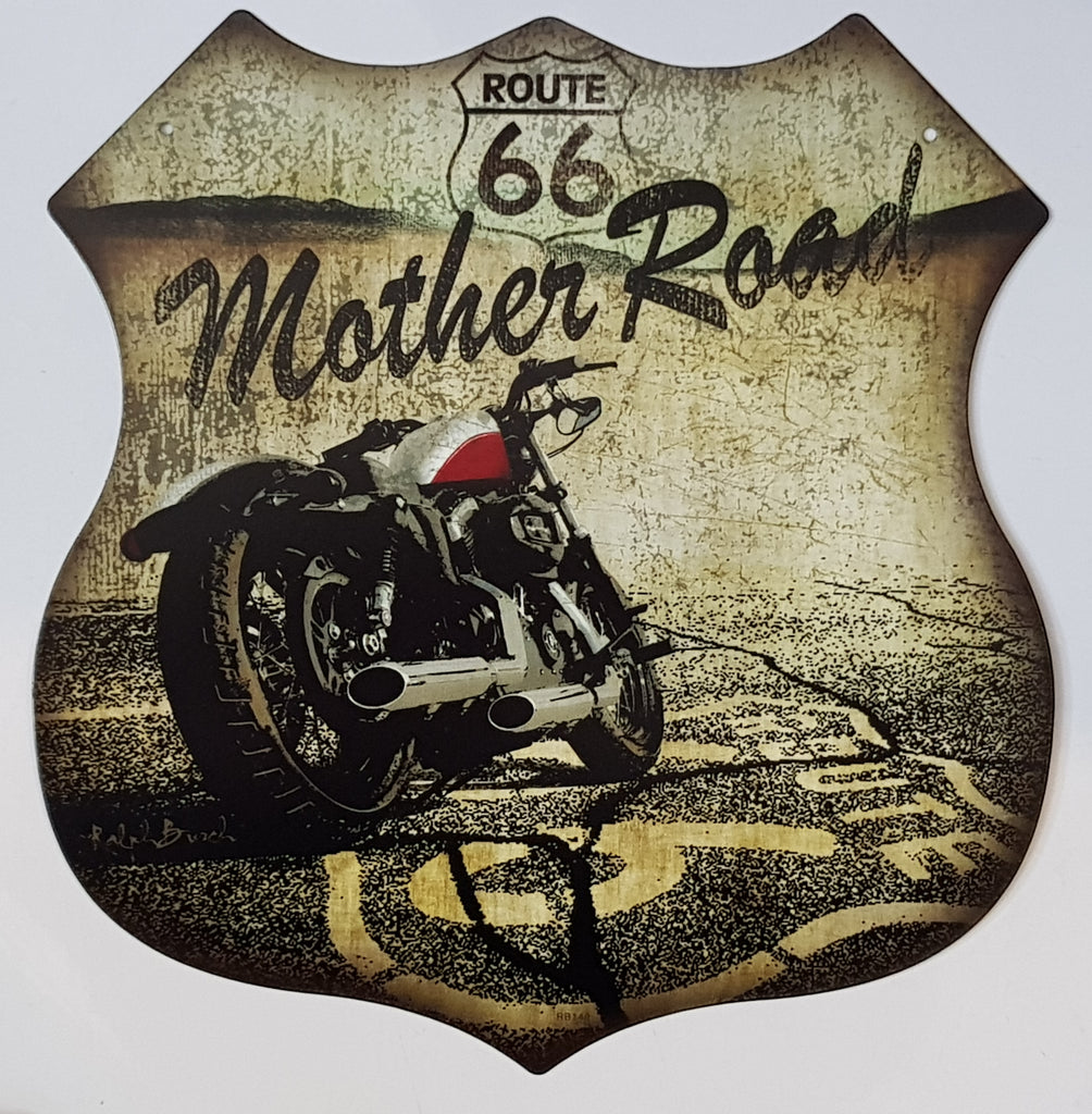Tin Sign - Mother Road Route 66 Bobber