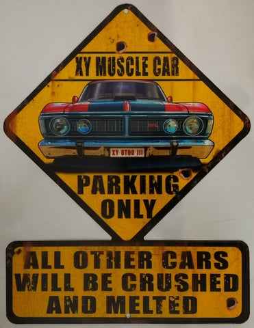 Tin Sign -  XY GTHO  Muscle Car Parking Poison Kandy Klothing