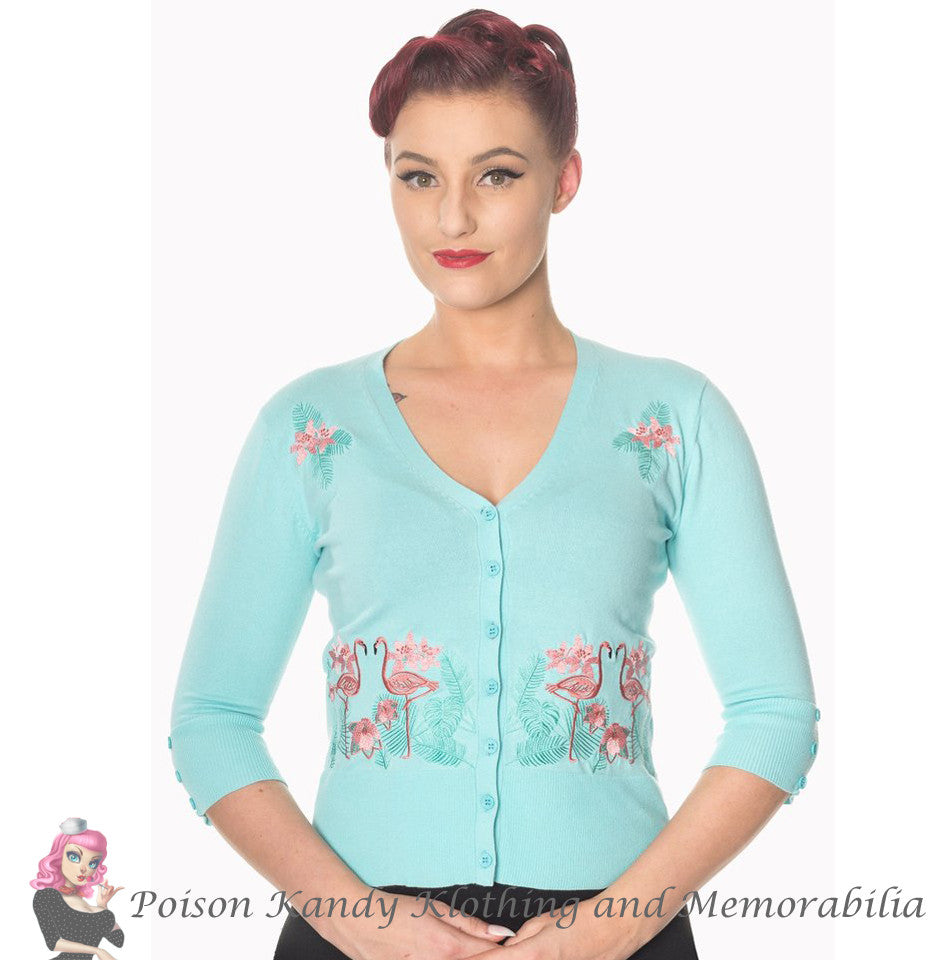 Banned Clothing - Ladies Cardigan Face to Face Blue