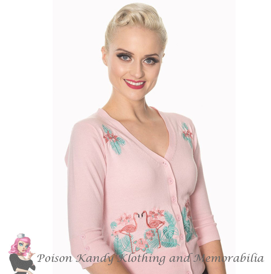 Banned Clothing - Ladies Cardigan Face to Face Pink