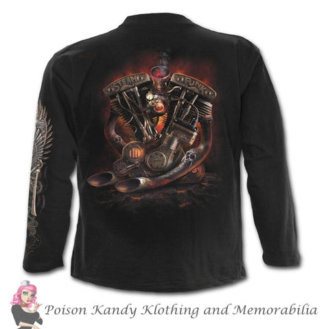 Mens Long Sleeve Tee - Steam Punk Rider