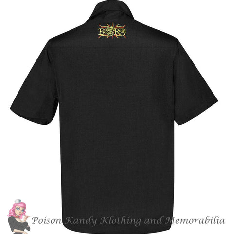 Mens Button up - Rat Fink Pinstripe Panel Button Up Shirt Black