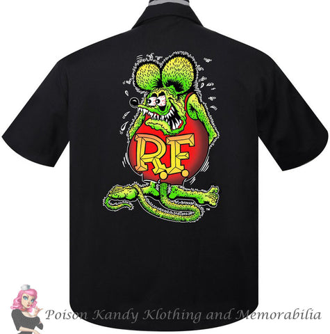 Mens Button up - Rat Fink Roth Racer Rock Steady Shirt Black