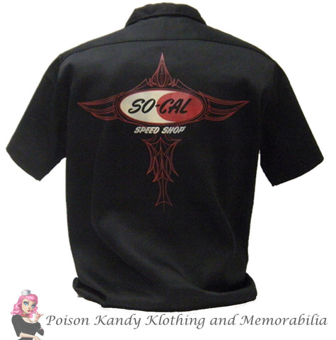So Cal Button Up - Speed Shop Logo Pinstripe Black