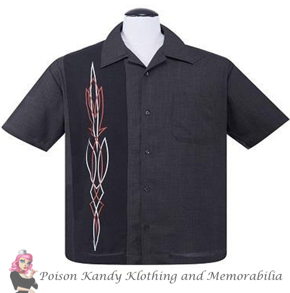 Steady Button up - Classy Hot Rod Pinstripe Charcoal