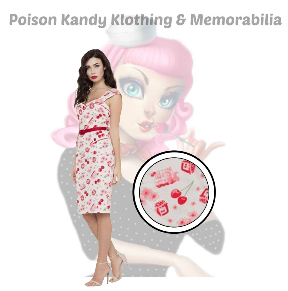 Voodoo Vixen - Anne Ladies Cherry Pencil Dress SALE ITEM NO RETURN