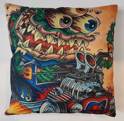 Cushion - Rat Fink Blue Coupe