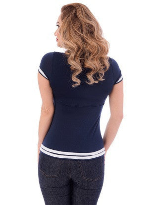 Steady Clothing Sweetheart Pilot ladies Navy Top