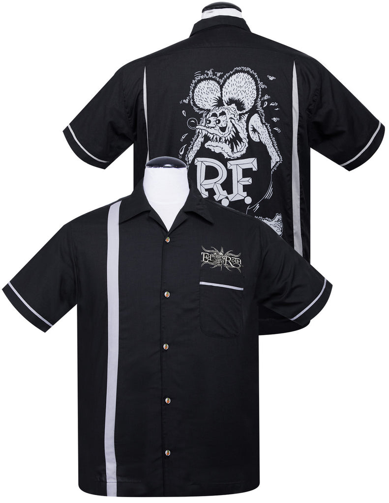 Steady Clothing - Rat Fink Bowler Button up Shirt B&W|Poisonkandyklothing