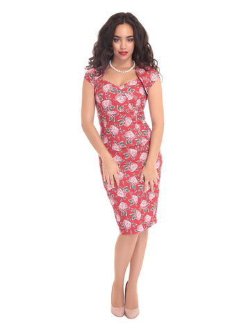 Collectif Regina Mulled Floral Pencil Dress