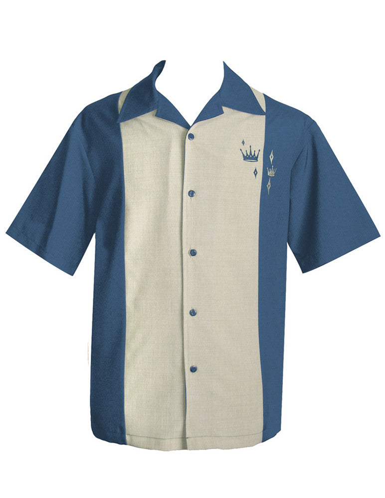 Steady Clothing-Crown Button up Bowling shirt Blue|Poisonkandyklothing