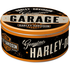 Round Tin Container Large - Harley-Davidson Garage