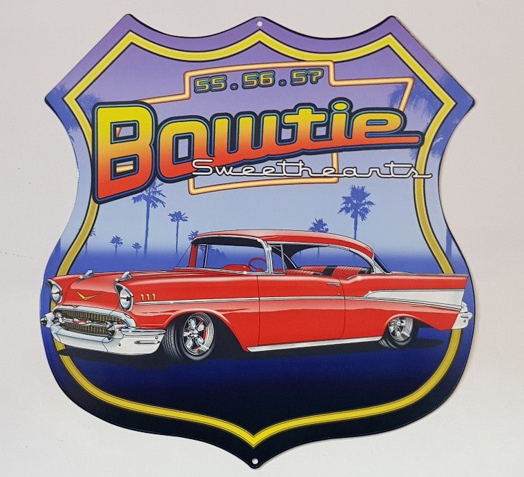 Tin Sign - 1957 Chevrolet Bowtie Sweetheats Shield