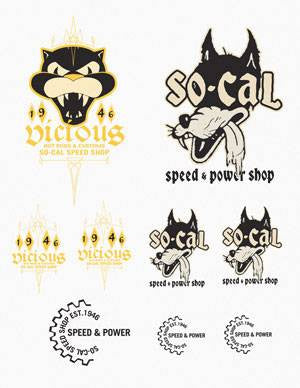 Sticker Decal Sheet - SO-CAL Speed Shop Vicious/Wolf