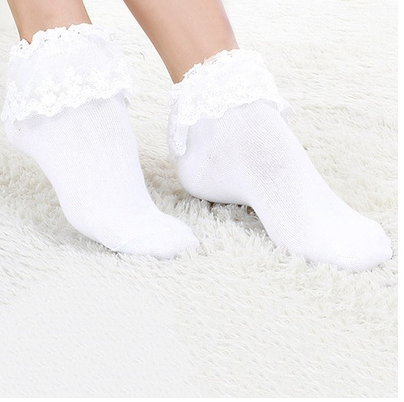Ladies Lace Bobby Socks White