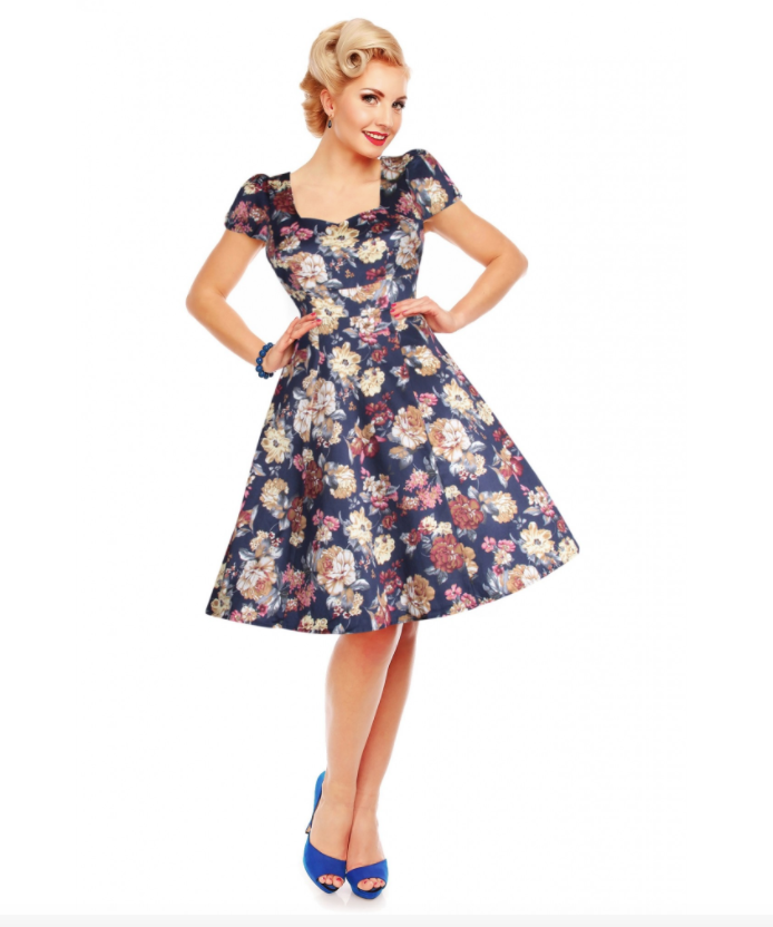 Dolly & Dotty Claudia Floral Blue Dress|Poisonkandyklothing