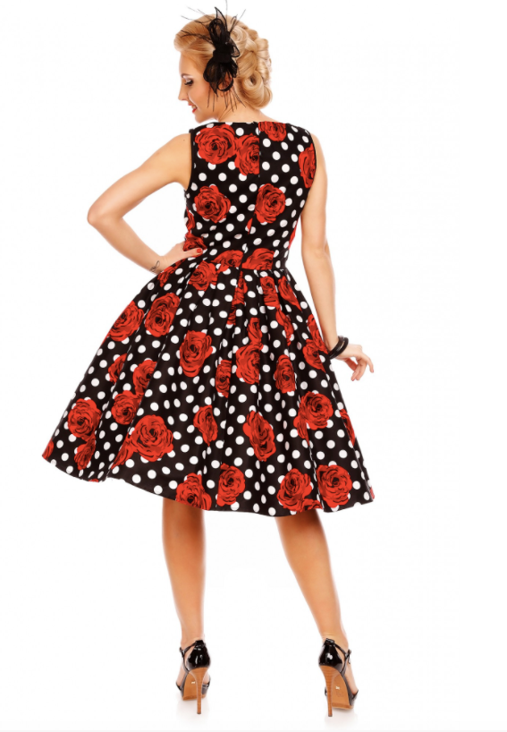 Dolly & Dotty Elizabeth Black Rose Polka Swing Dress|Poisonkandyklothing