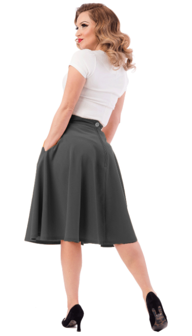 Steady Clothing High Waisted Skirt Charcoal Plus Size|Poisonkandyklothing