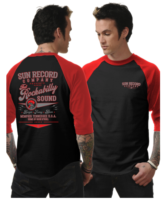Steady Clothing - Rockabilly Sound Mens Raglan Blk-Red|Poisonkandyklothing