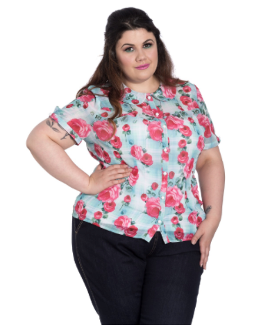 Hell Bunny Suzannah Blouse Mint Plus Size|Poisonkandyklothing