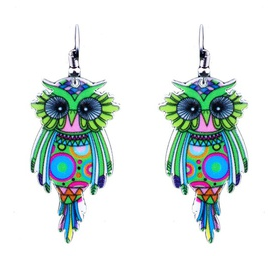 Owl Drop Earrings Asst Colours
