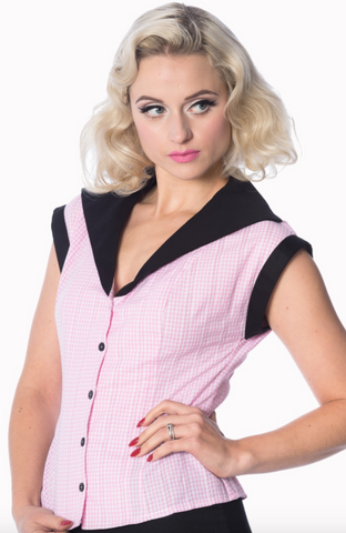 Banned Clothing - Ladies Grease Gingham Blouse