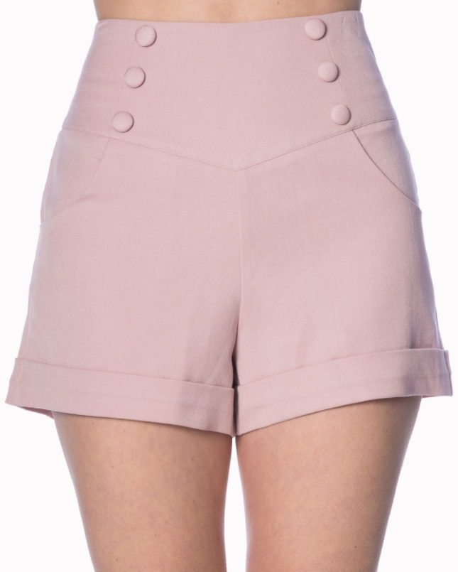 Banned Clothing - Cute as a Button Short Pink|Poisonkandyklothing