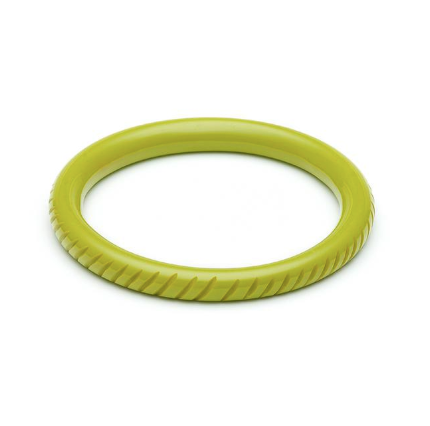 "Bangle ""Regular Size "" Narrow Chartreuse Heavy Carve Fakelite Bangle"