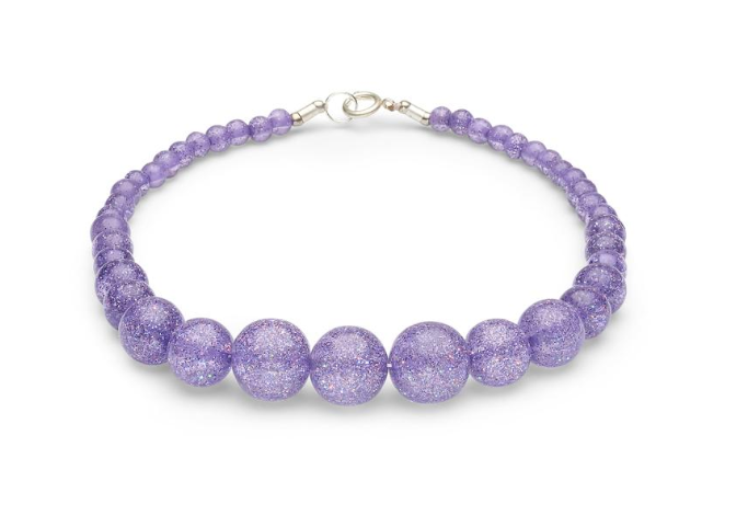 Splendette Necklace Lilac Glitter Beads|Poisonkandyklothing