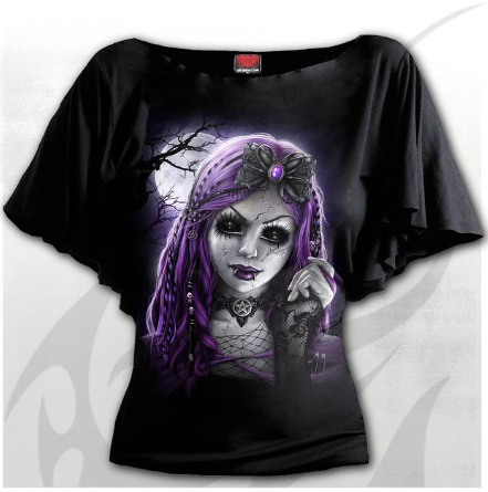 Ladies Top - Goth Doll Boat Neck Top Plus Size|Poisonkandyklothing