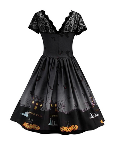 Halloween Penny Lane Haunted House Dress Black|Poisonkandyklothing