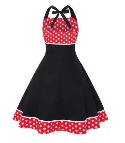 Doris Halterneck 50's dress Black &  Red