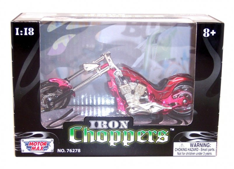 Die Cast Motorcycle - Flamed Red Iron Chopper