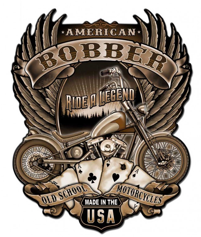 Tin Signs - American Bobber Ride A Legend|Poisonkandyklothing