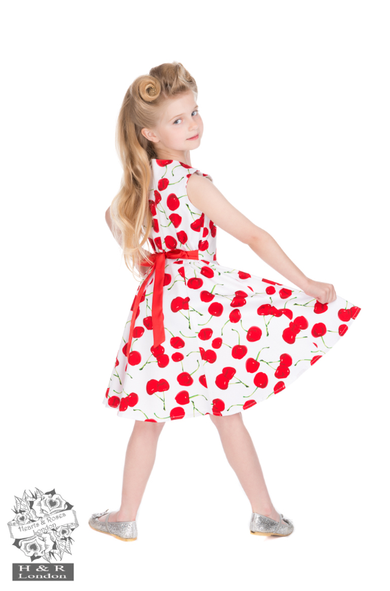 Hearts & Roses White Cherry Girls Dress