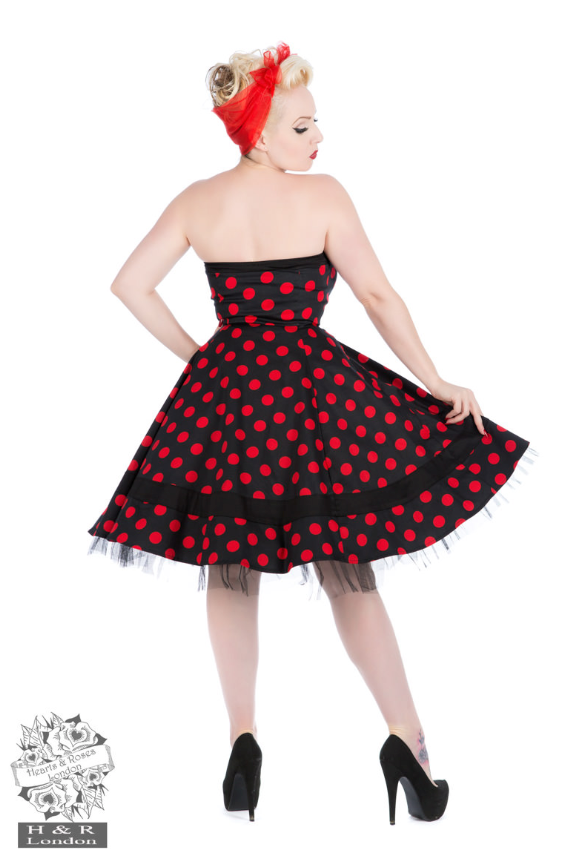 Hearts & Roses Red Polka Spot Strapless Swing Dress