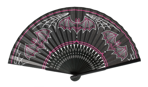 Sourpuss Batty Pinstripe Fan|Poisonkandyklothing