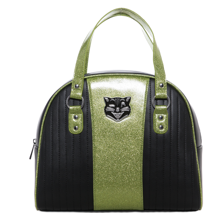 Sourpuss Jinx Tuck N Roll Handbag Blk/Grn