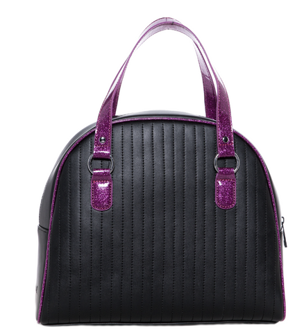 Sourpuss Jinx Tuck N Roll Handbag Blk/Purp