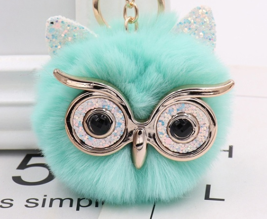 Fluffy Accessories Owl Key Chains Asst Colours