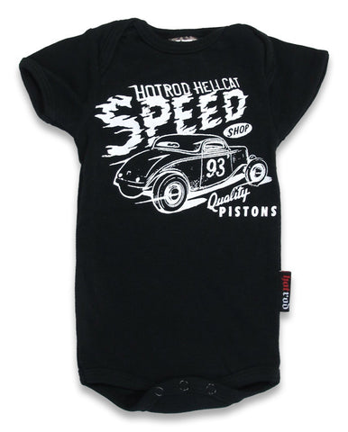 Hotrod Hellcat Babies Romper Speed  Shop Black